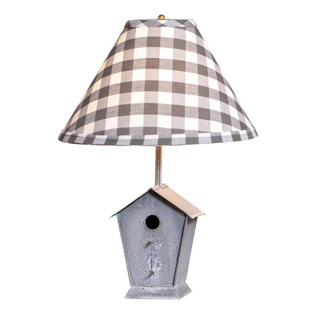 "22"" Weathered Gray Metal Rustic Birdhouse Plaid Shade Table Lamp"