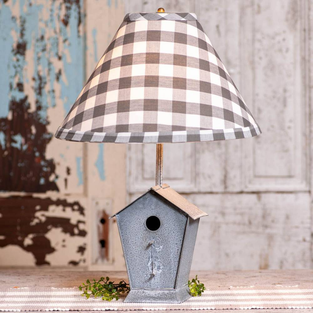 "22"" Distressed Gray Metal Rustic Birdhouse Checkered Shade Table Lamp"