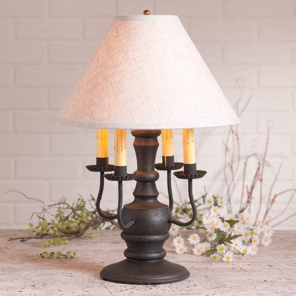 "22"" Textured Black Farmhouse 4 Candle White Shade Table Lamp"