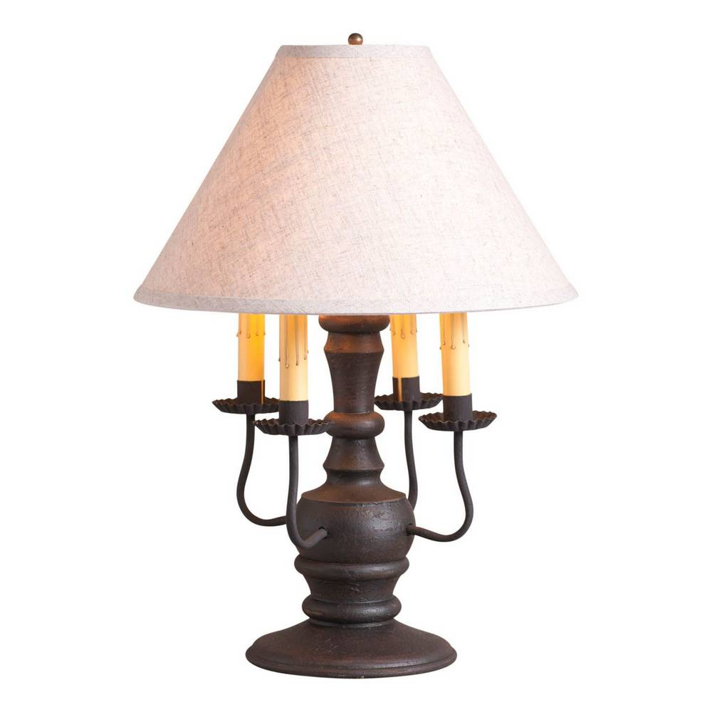 "22"" Textured Black Farmhouse 4 Candlestick White Shade Table Lamp"