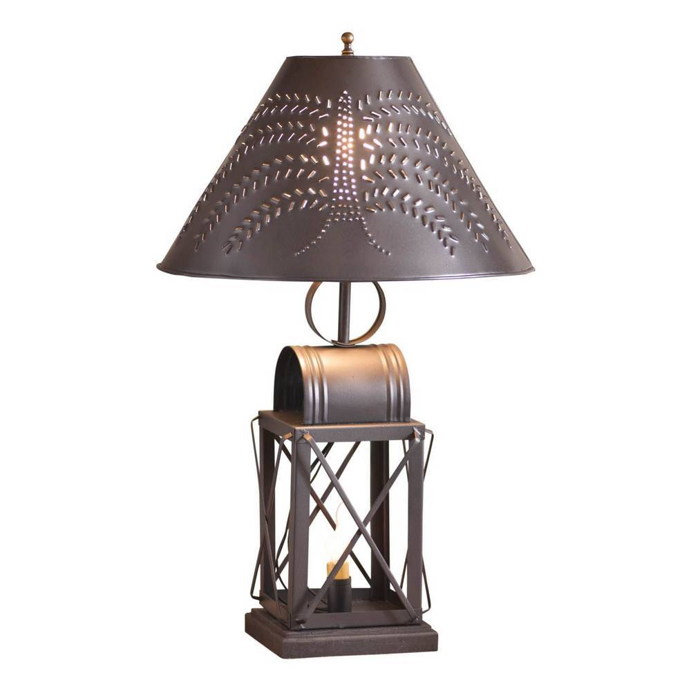 "23"" Black Antique Farmhouse Lantern Metal Willow Shade Table Lamp"