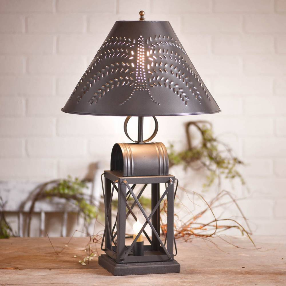 "23"" Black Vintage Farmhouse Lantern Metal Willow Shade Table Lamp"