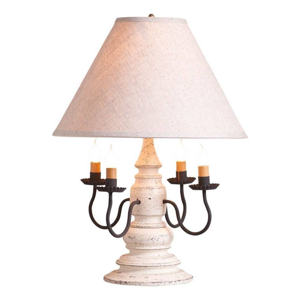 "23"" Weathered White Modern Farmhouse 4 Candlestick Ivory Shade Table Lamp"