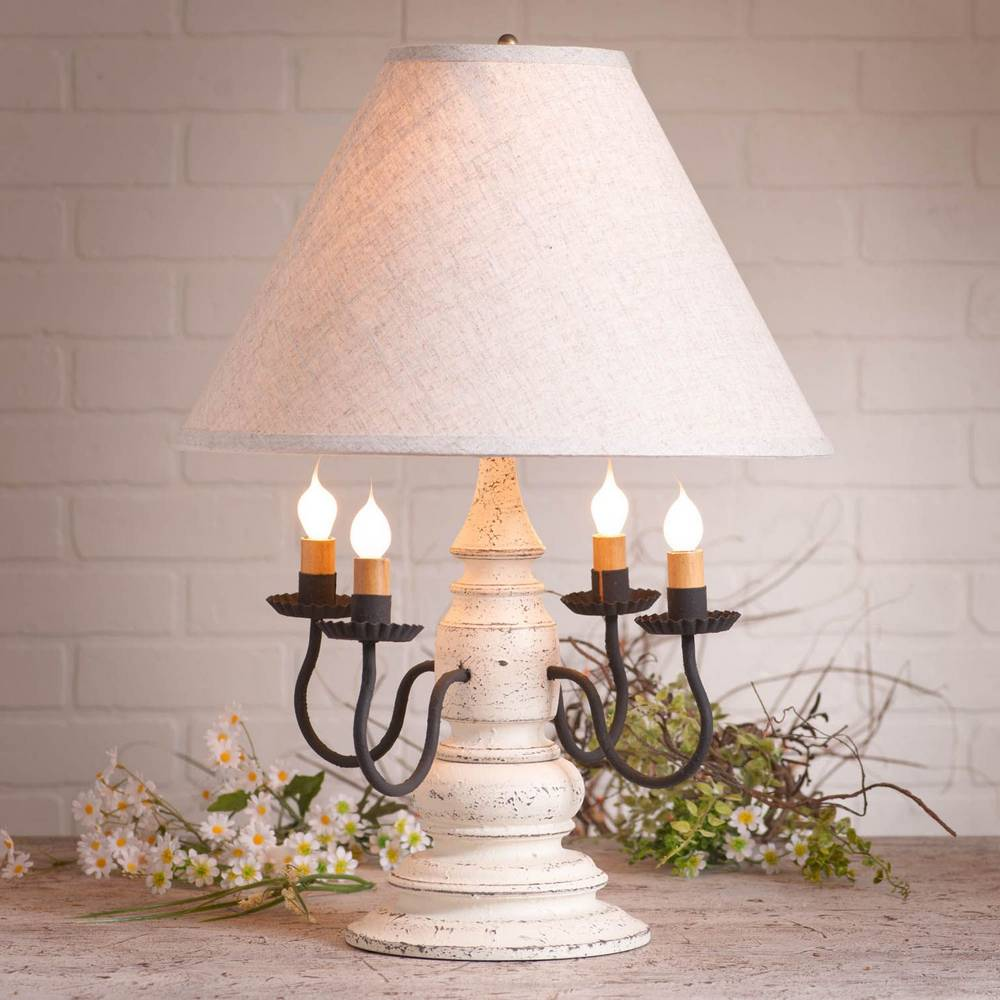"23"" Distressed White Modern Farmhouse 4 Candle Ivory Shade Table Lamp"