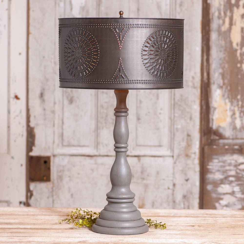 "25.5"" Gray Modern Farmhouse Black Metal Drum Shade Table Lamp"
