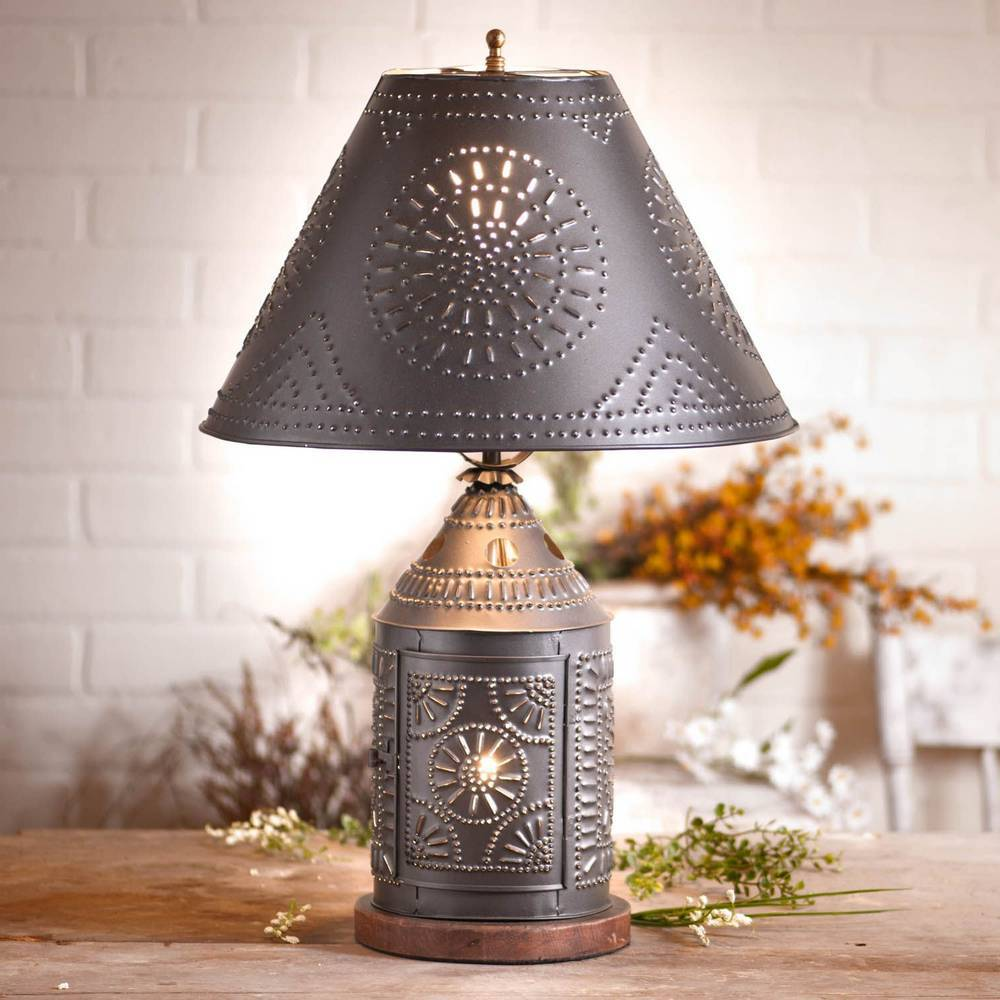 "25"" Black Country Farmhouse Candle Lantern Metal Shade Table Lamp"