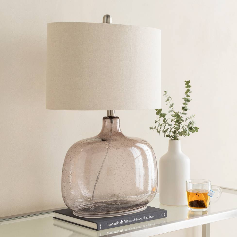 "25"" Antique Gray Translucent Glass Table Lamp with Ivory Drum Shade"