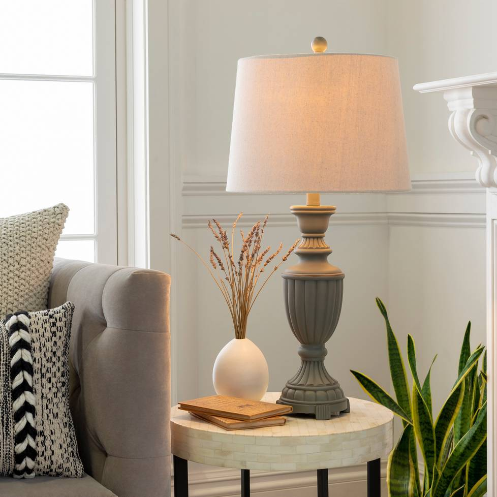 "28"" Antique Dark Gray Table Lamp with Tan Empire Linen Shade"