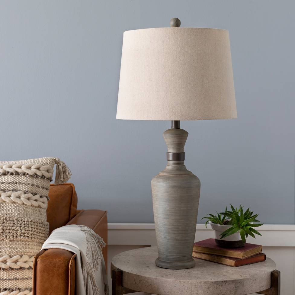 "29"" Antique Gray Table Lamp with Beige Empire Linen Shade"