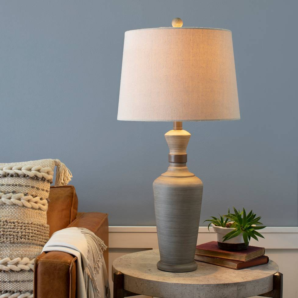"29"" Vintage Gray Table Lamp with Beige Empire Linen Shade"
