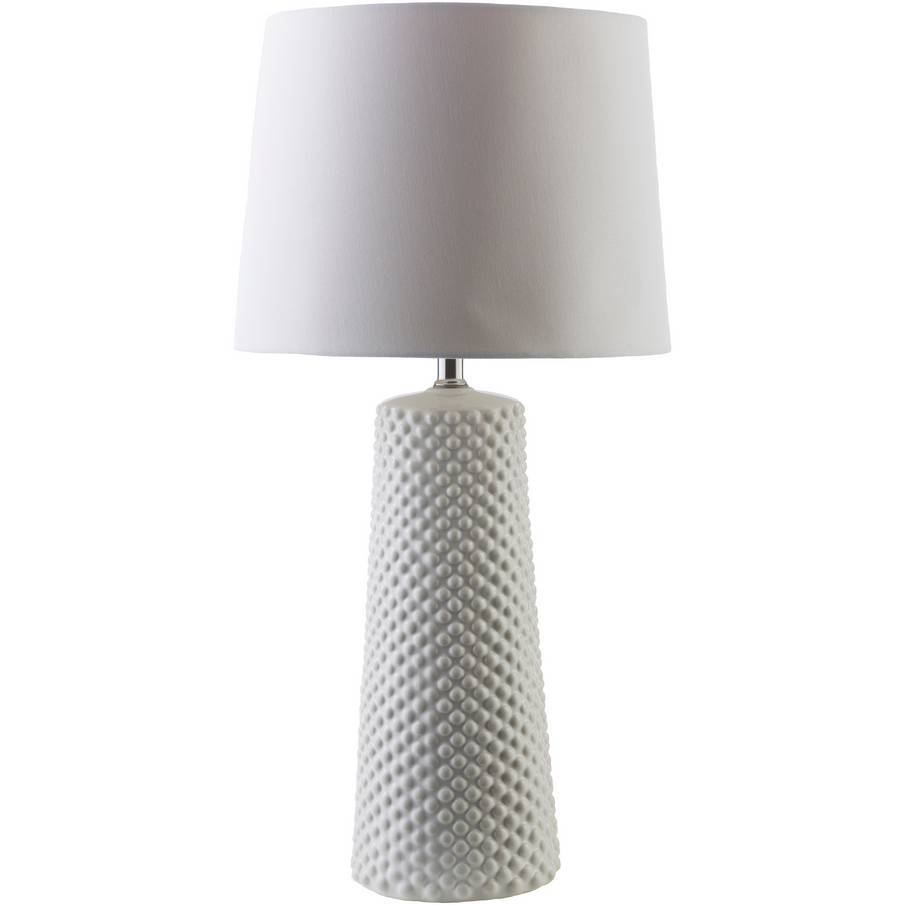 "29"" Tall Modern White Table Lamp with Cream White Shade"