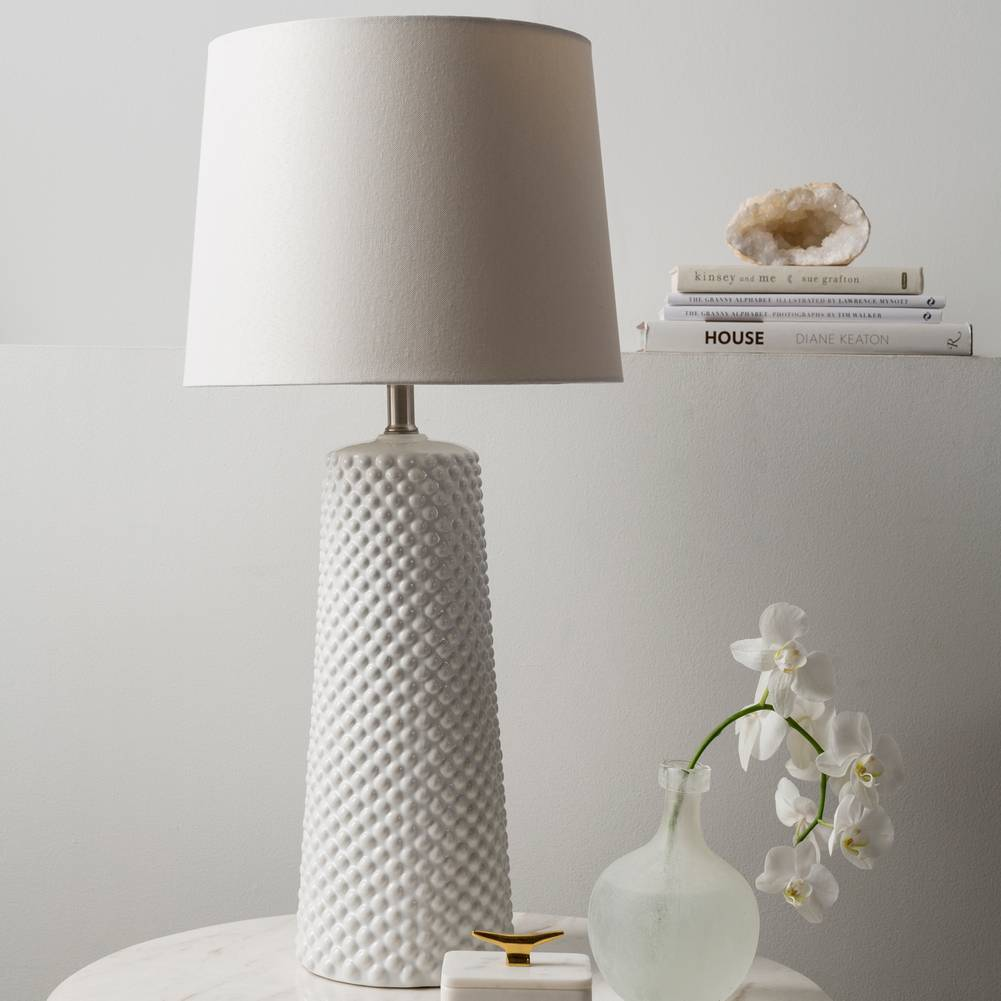"29"" Tall Modern Glazed White Table Lamp with Ivory White Shade"