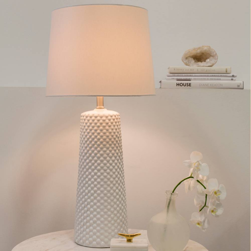 "29"" Tall Modern White Table Lamp with Ivory White Shade"