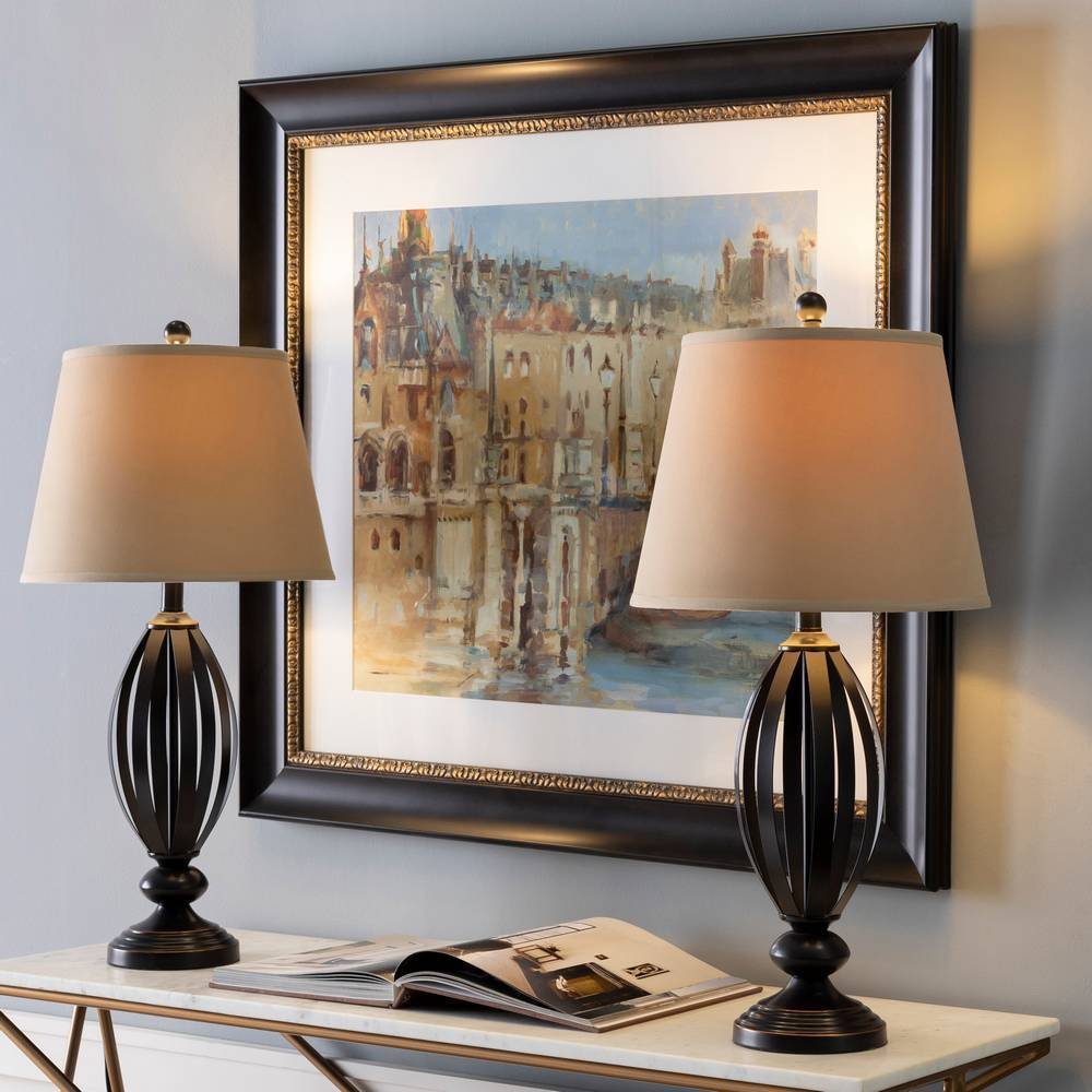 "29"" Tall Modern Oil Rubbed Bronze Table Lamps"