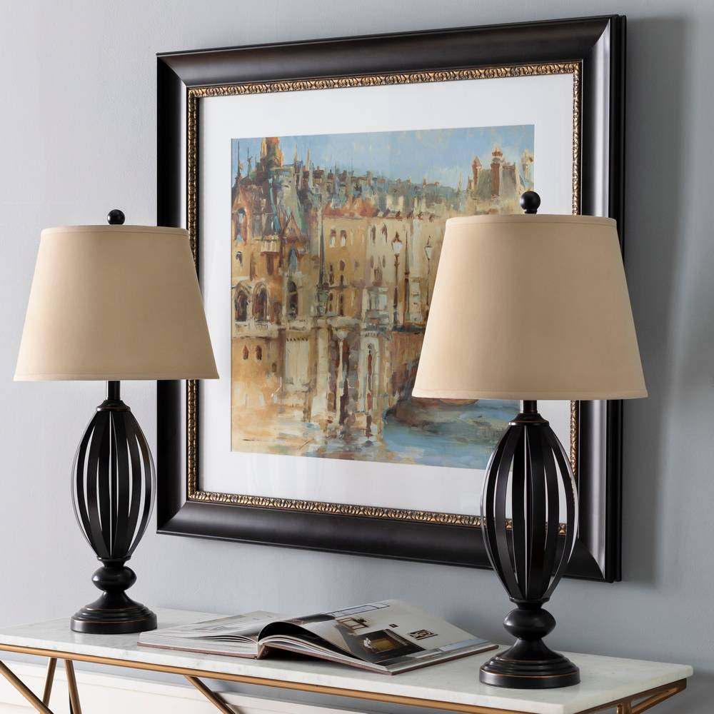 "29"" Tall Modern Oil Rubbed Bronze Table Lamps (Pair)"