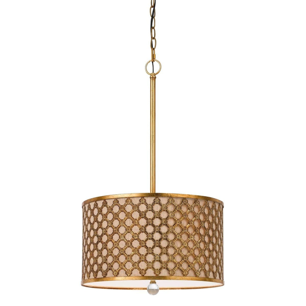 3-Light Antique Gold Drum Pendant