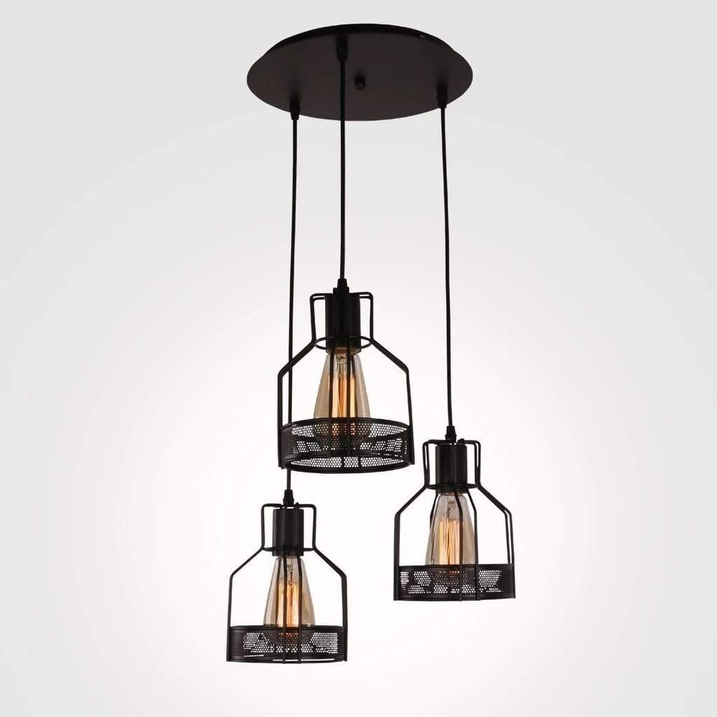 three cage black metal pendant light