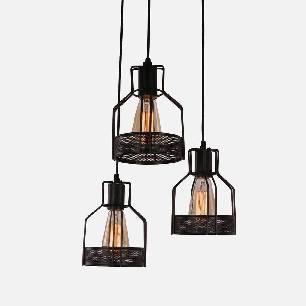industrial pendant light black metal