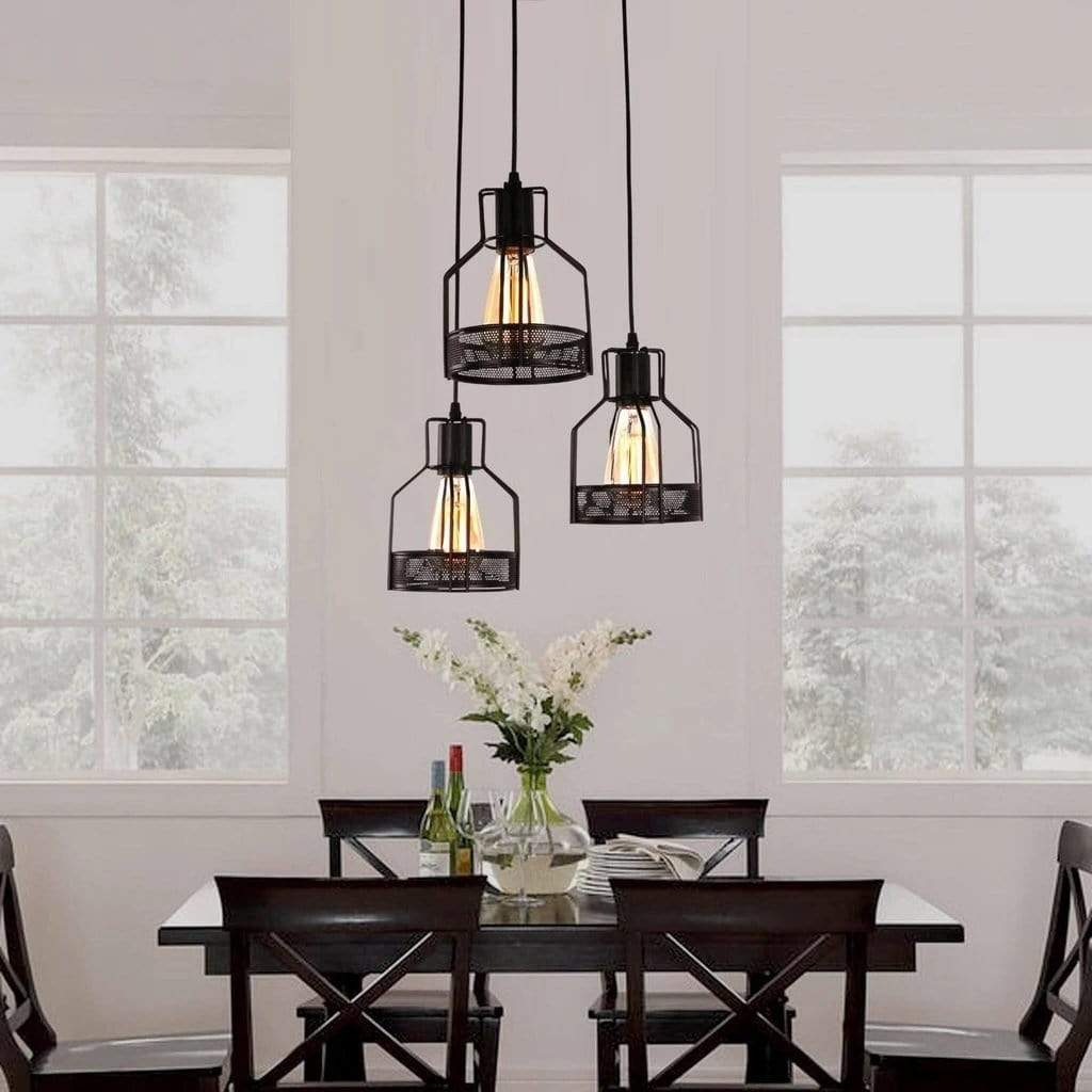 3-Light Cluster Rustic Black Metal Three Cage Pendant