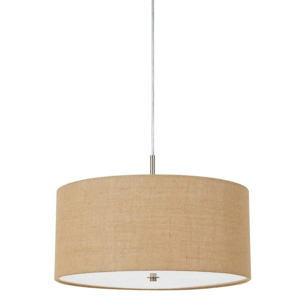 3-Light Contemporary Fabric Shade Drum Pendant