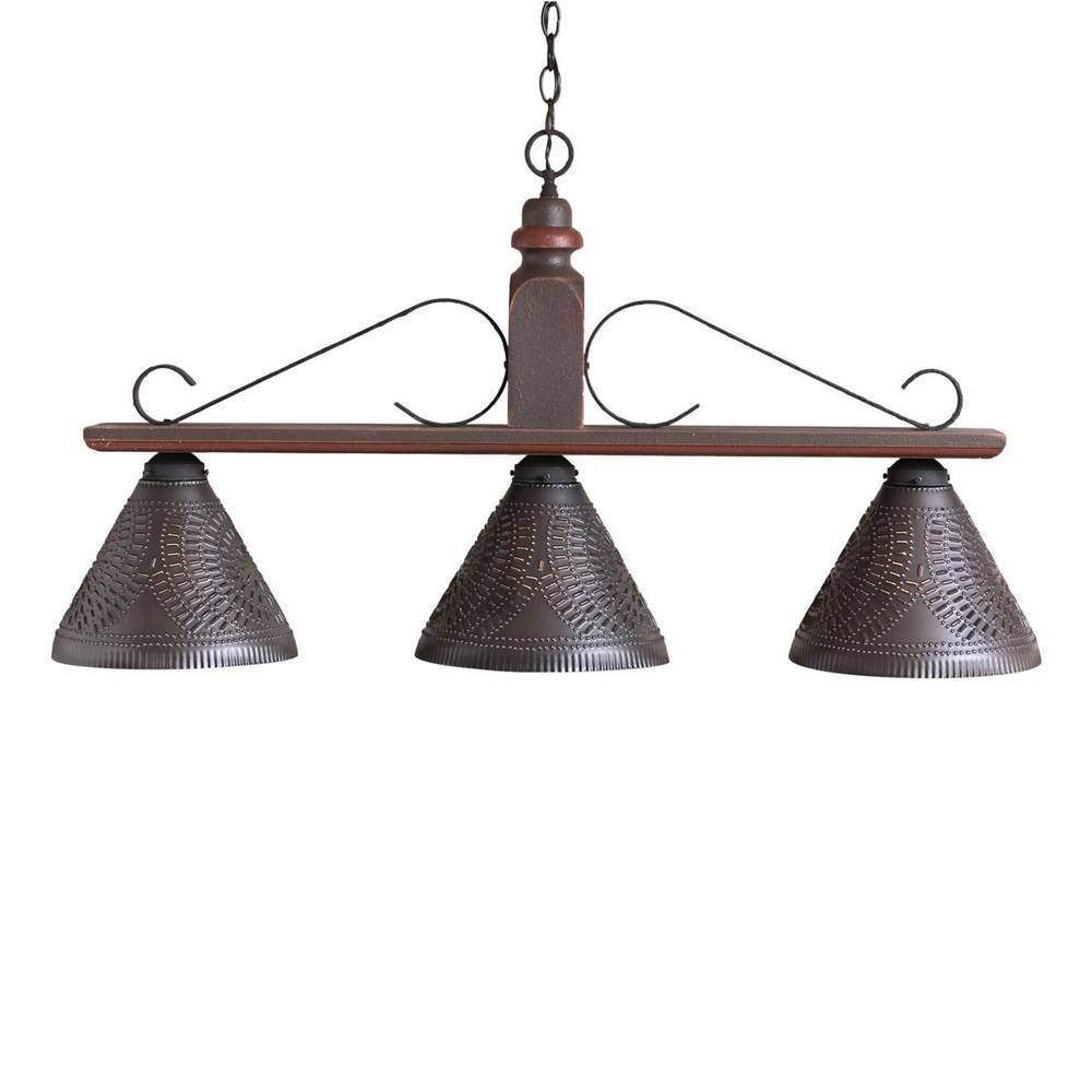 3-Light Dark Brown Farmhouse Linear Kitchen Island Pendant