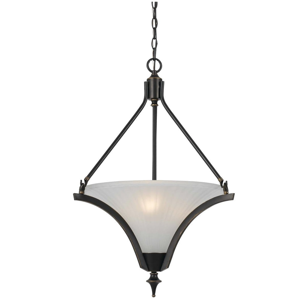 3-Light Single Frosted Glass Shade Metal Pendant