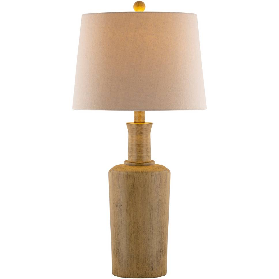 "30"" Tall Rustic Modern Wood Table Lamp with Tan Shade"