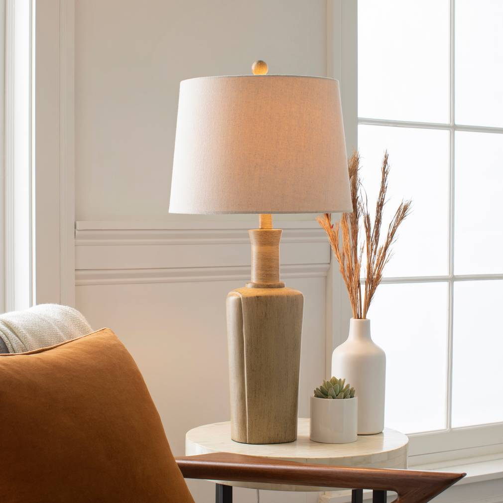 "30"" Tall Modern Farmhouse Wood Table Lamp with Tan Shade"