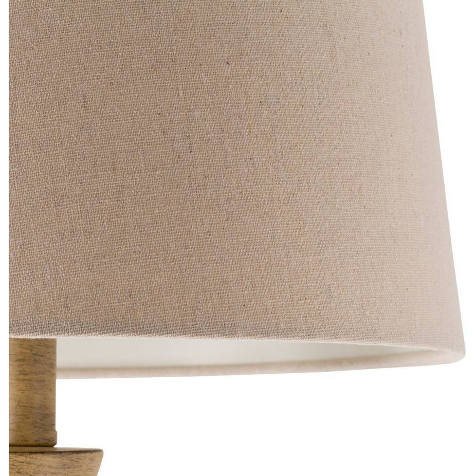 farmhouse rustic wood tan shade table lamp