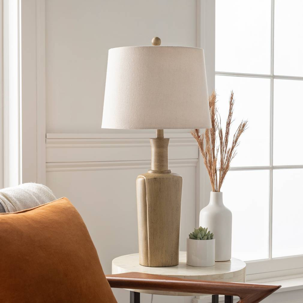 "30"" Tall Modern Farmhouse Wood Finish Table Lamp with Tan Shade"