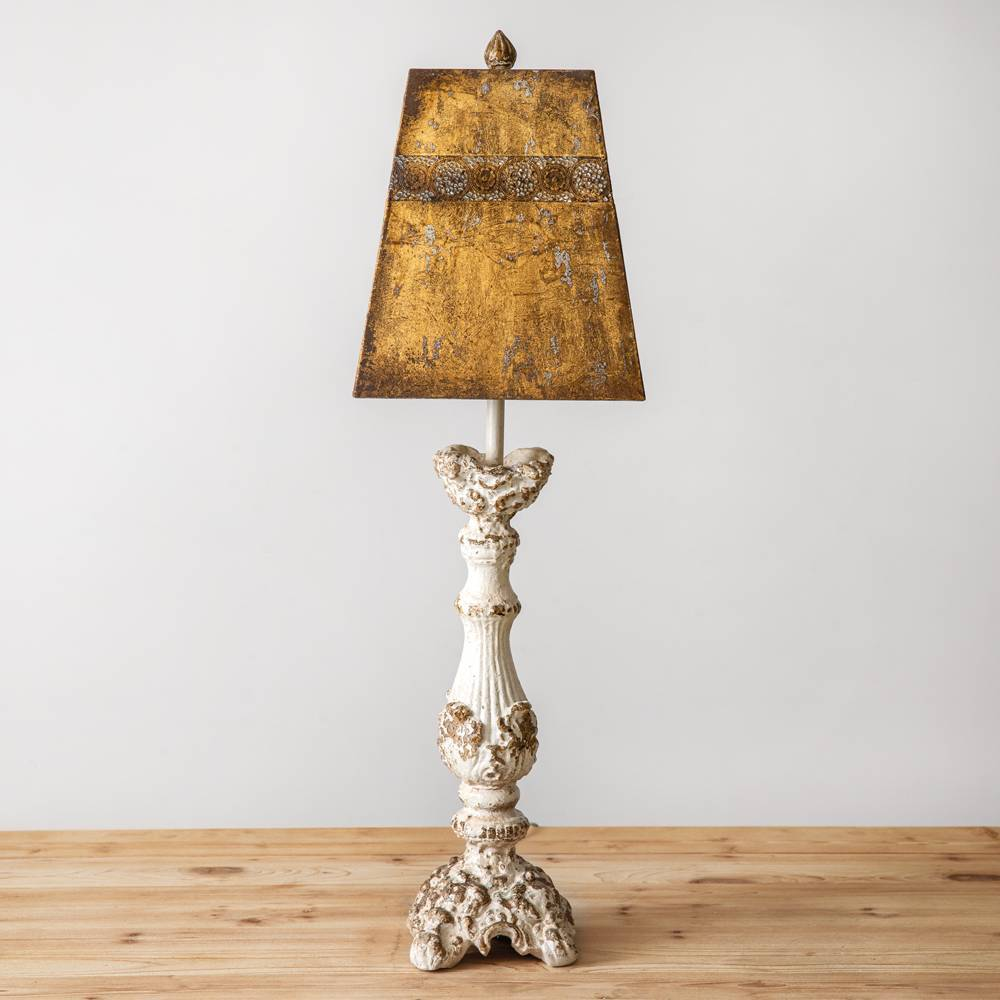 "32"" Vintage Distressed White Wood Table Lamp with Metal Shade"