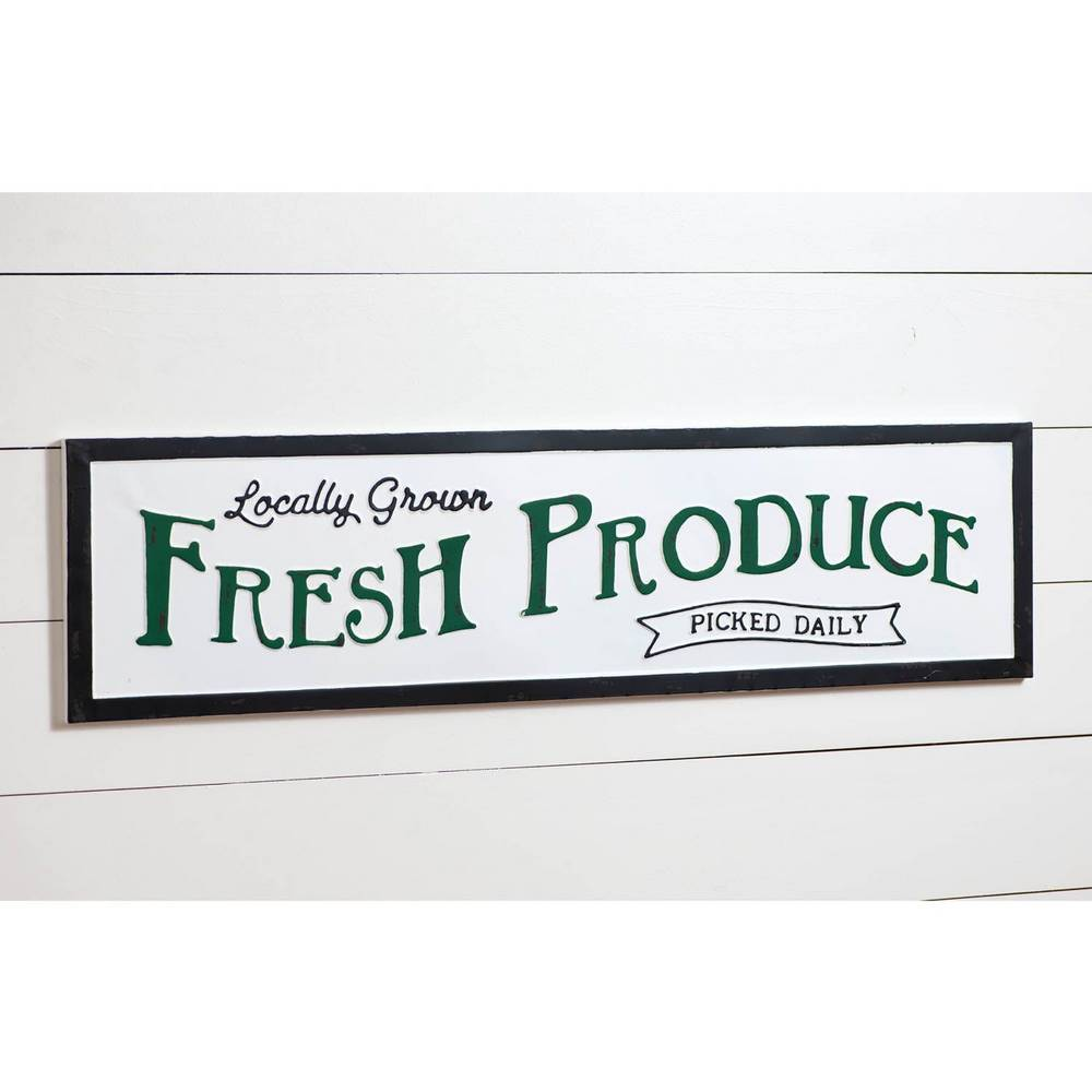 "36"" Black, White, & Green Vintage Fresh Produce Metal Wall Sign"