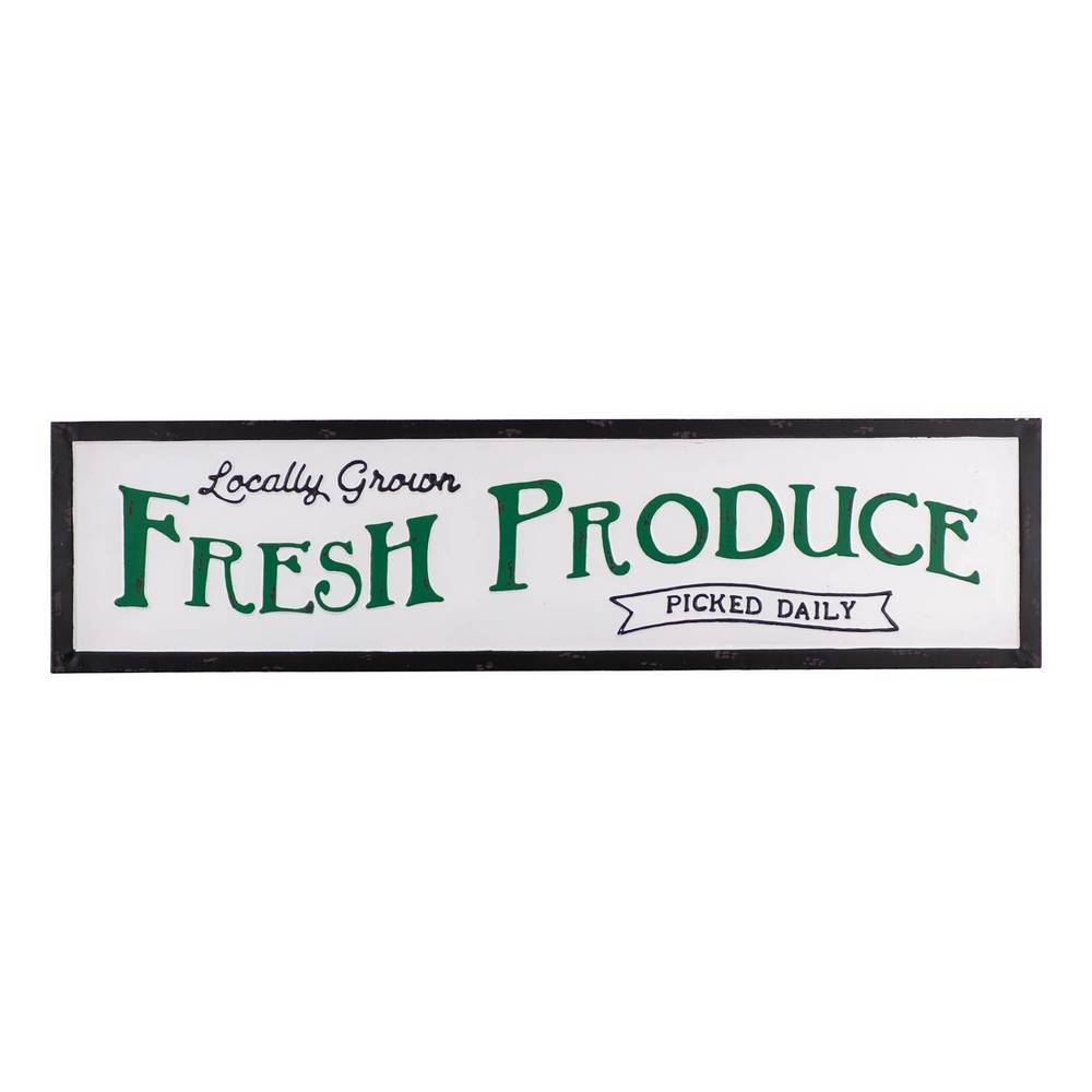 "36"" Black, White, & Green Antique Fresh Produce Metal Wall Sign"