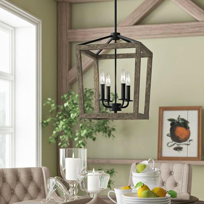 four light rustic wood and iron lantern rectangle chandelier