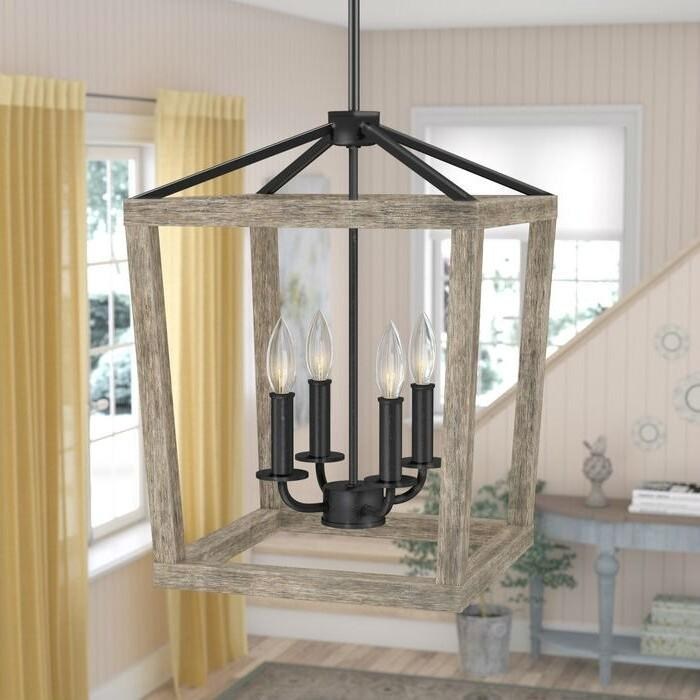 4-Light Farmhouse Wood & Iron Rectangle Lantern Chandelier