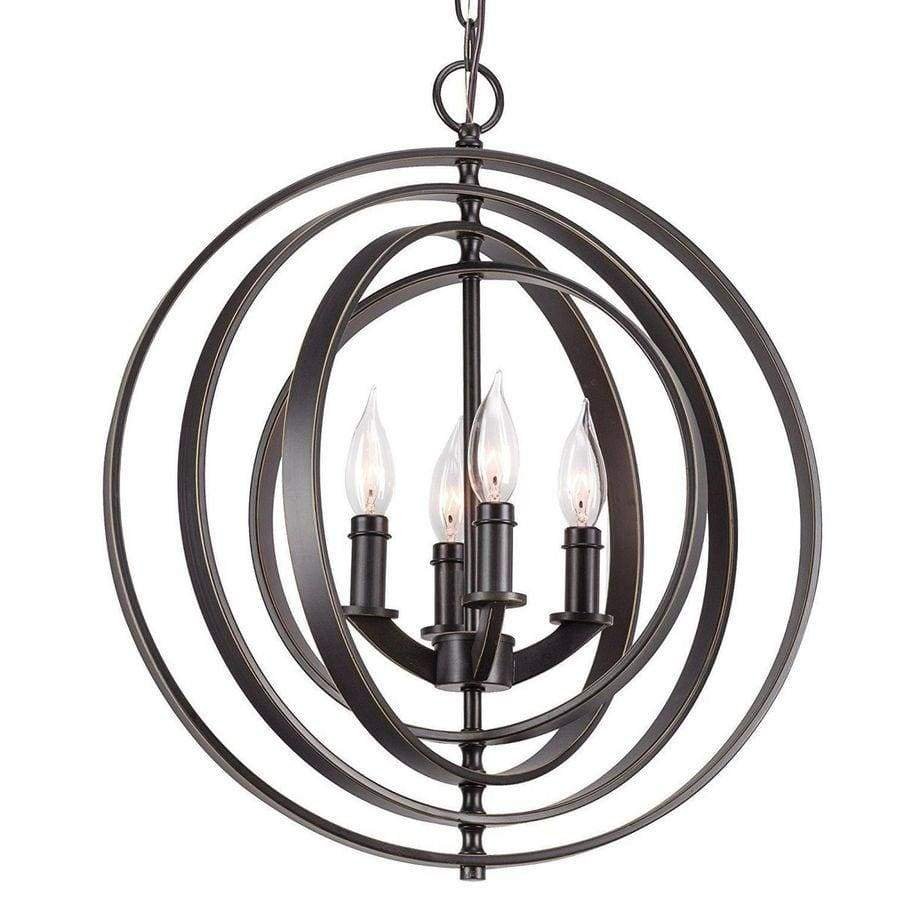 4-Light Modern Black Interlocking Rings Globe Chandelier