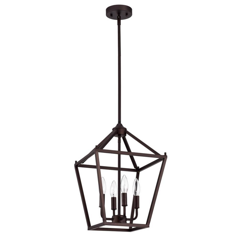 4-Light Modern Oil Rubbed Bronze Cage Lantern Hanging Light