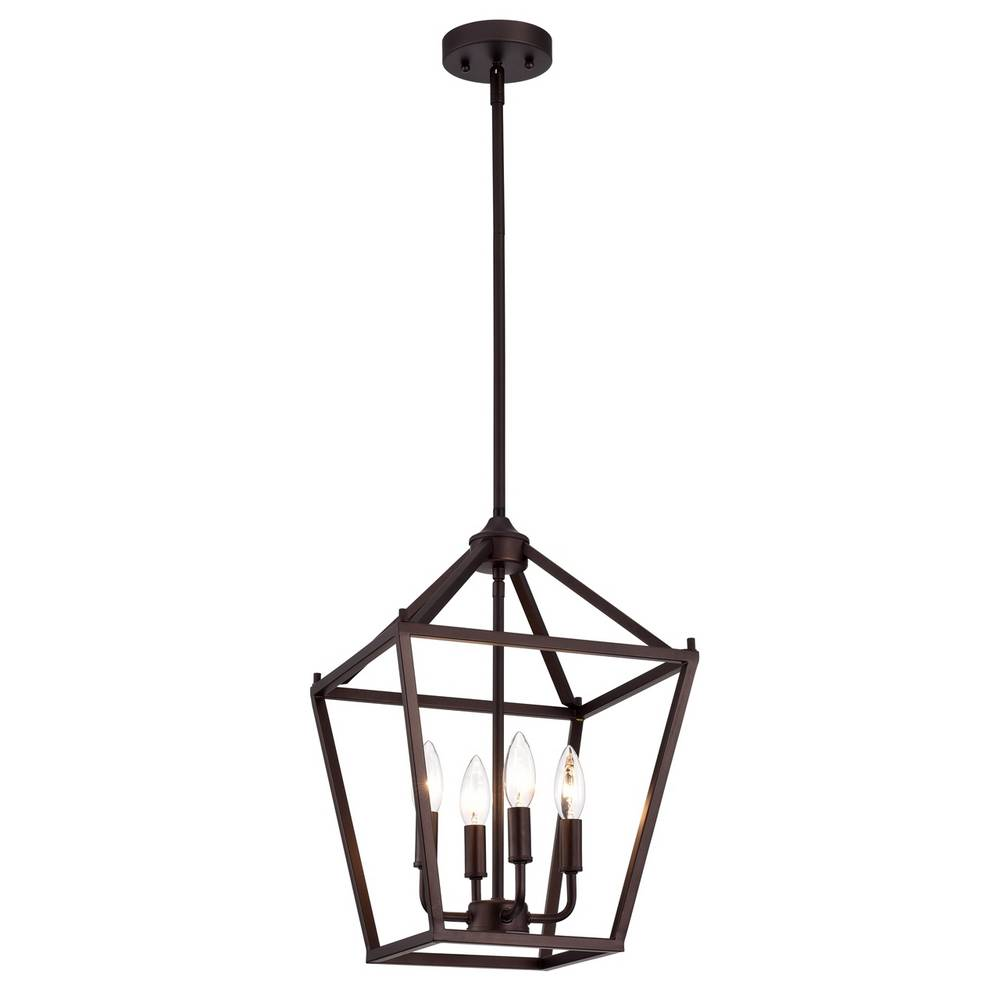 4-Light Modern Oil Rubbed Bronze Cage Lantern Pendant Light
