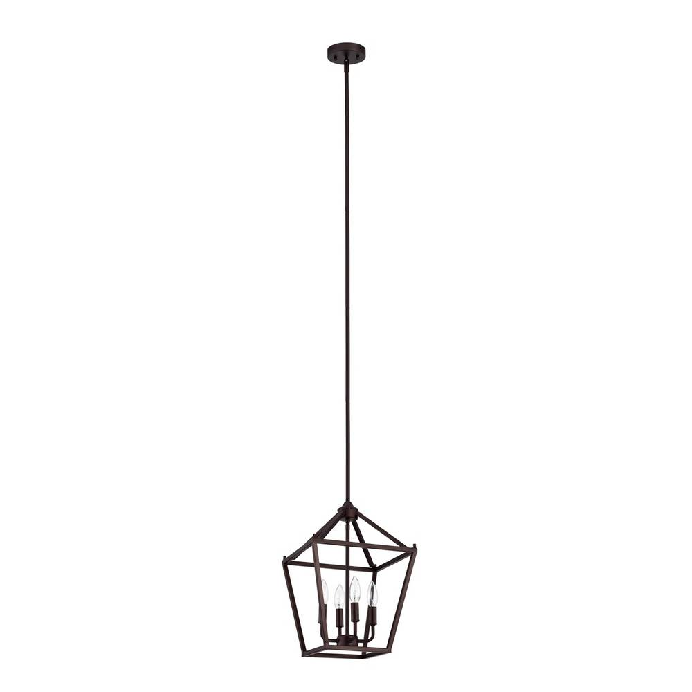 4-Light Modern Oil Rubbed Bronze Cage Lantern Chandelier for Dining Room