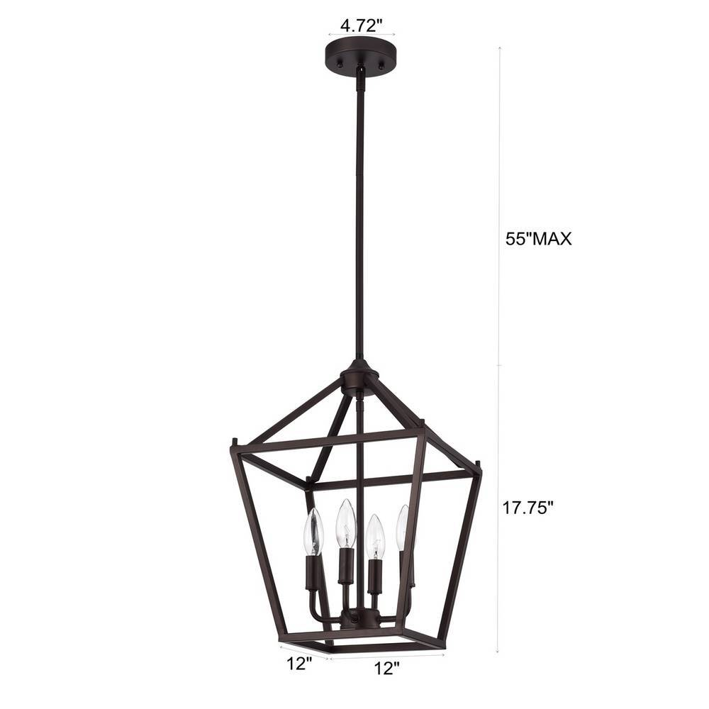 4-Light Modern Oil Rubbed Bronze Cage Lantern Chandelier for Kitchen