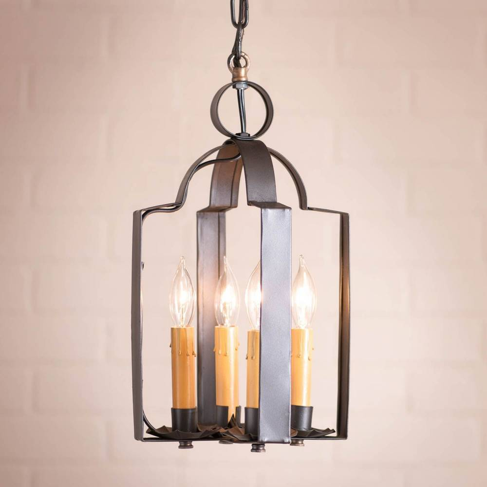 4-Light Small Smoky Black Farmhouse Candle Lantern Chandelier