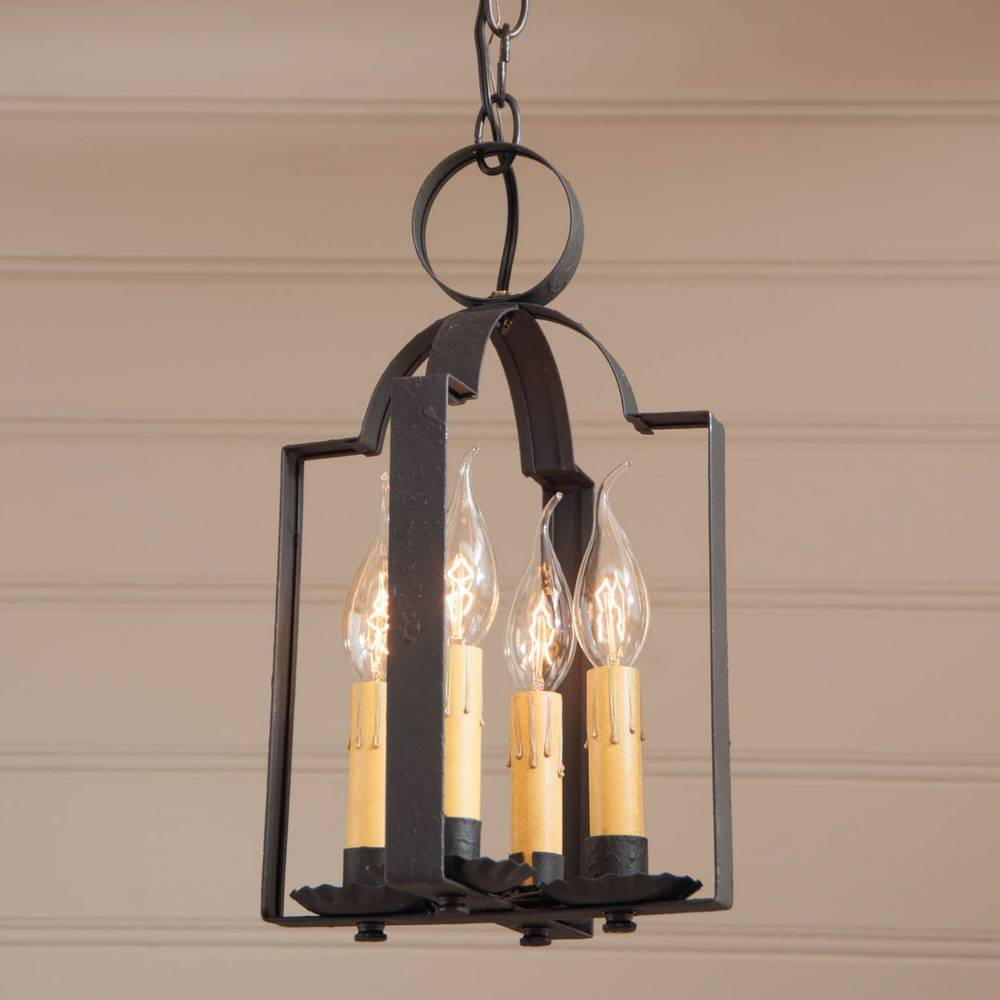 4-Light Textured Black Rustic Mini Candle Lantern Chandelier