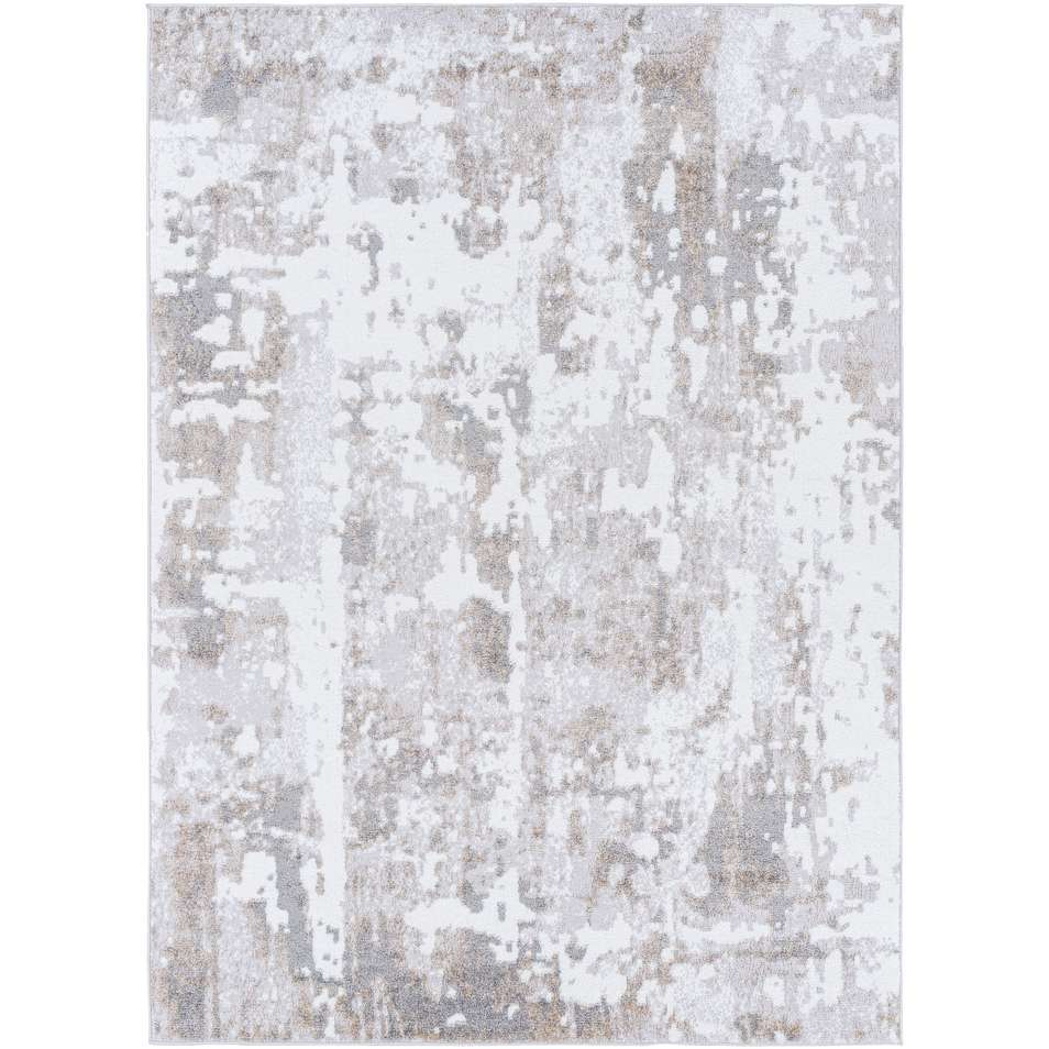 Light Beige and White Medium Pile Turkish Area Rug