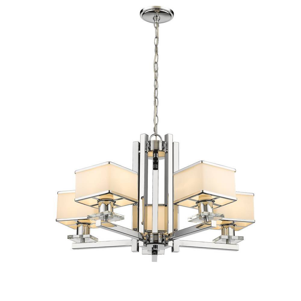 5-Light Modern Chrome & Opal Glass Hanging Light