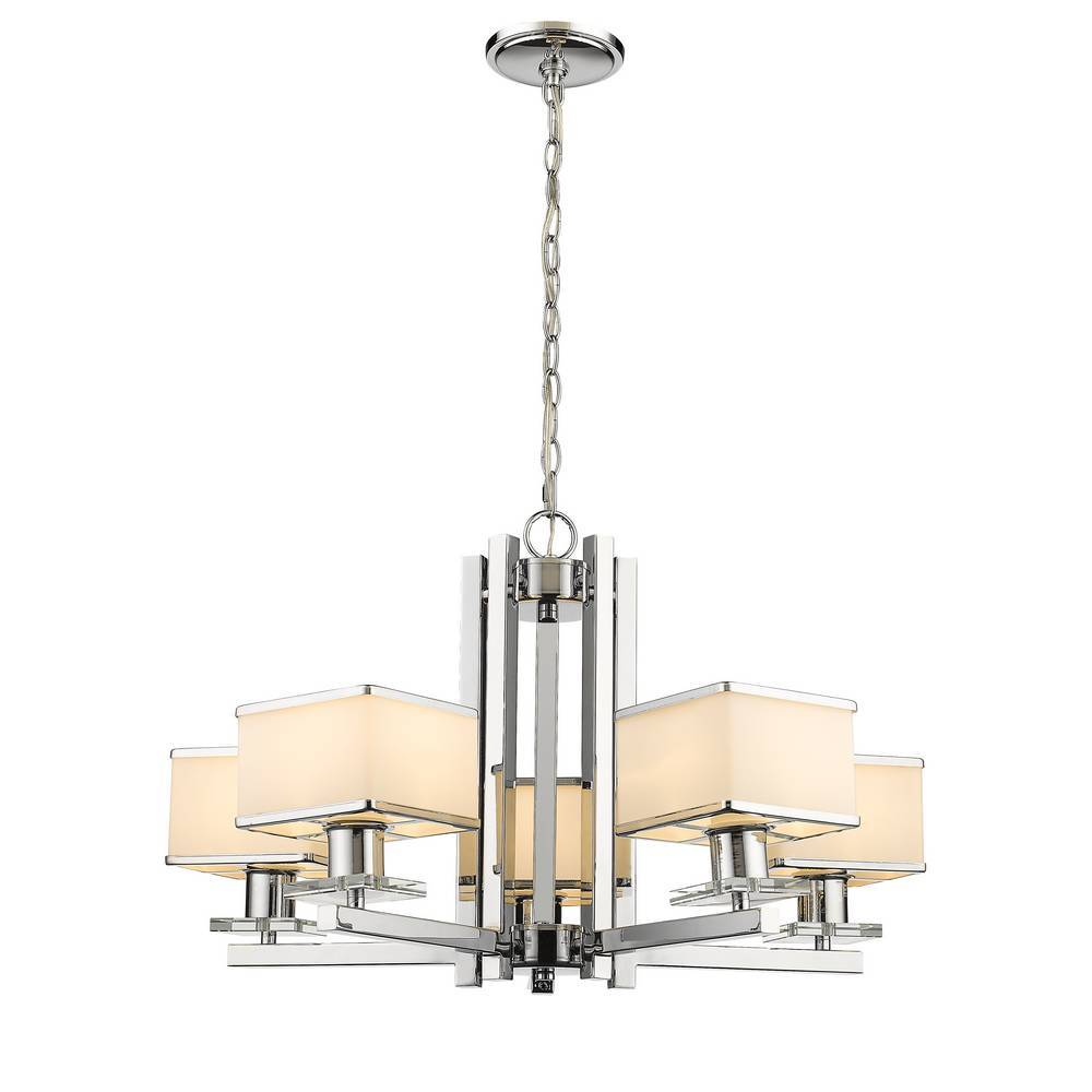 5-Light Modern Chrome & Opal Glass Pendant Light