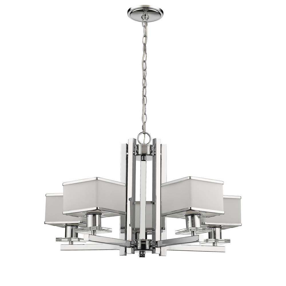 5-Light Modern Chrome & Opal Glass Chandelier
