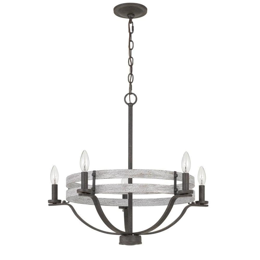 5-Light Rustic Black Metal and Gray Wood Band Drum Chandelier