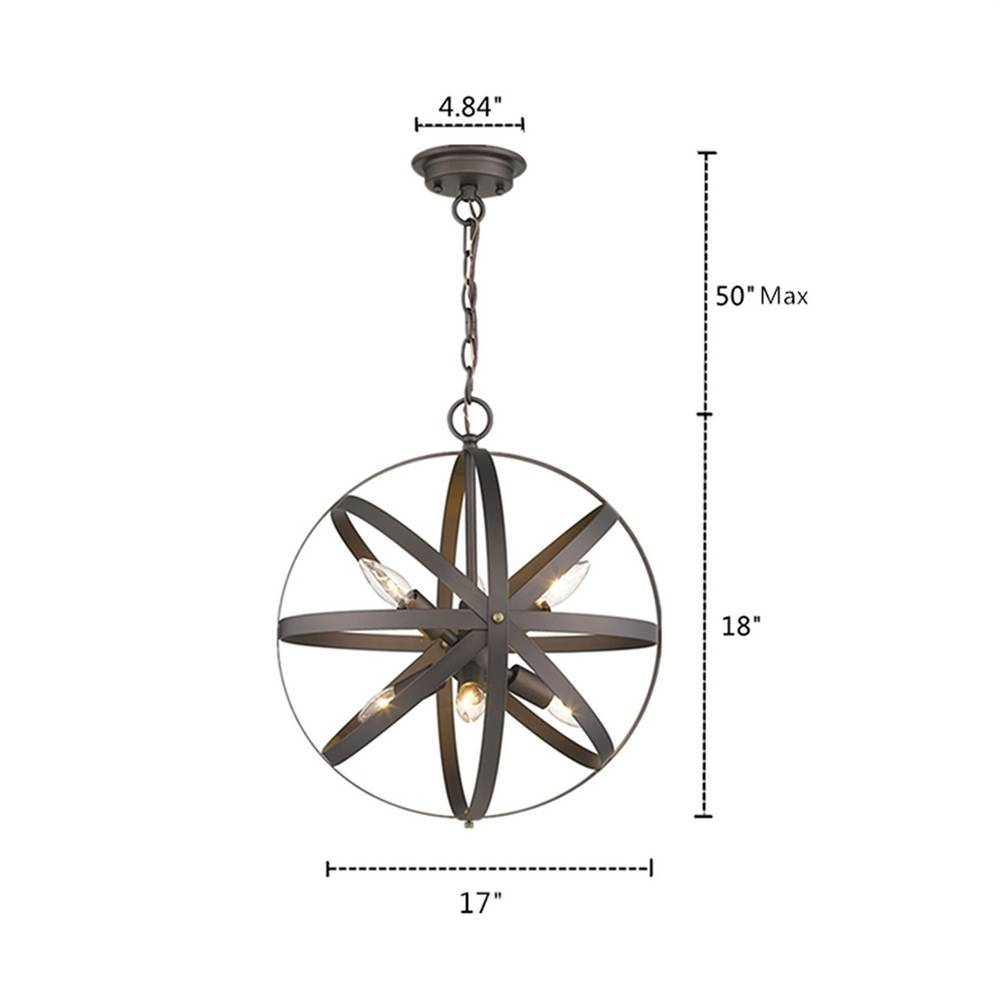 6-Light Industrial Oil Rubbed Bronze Cage Globe Chandelier for Dining Room