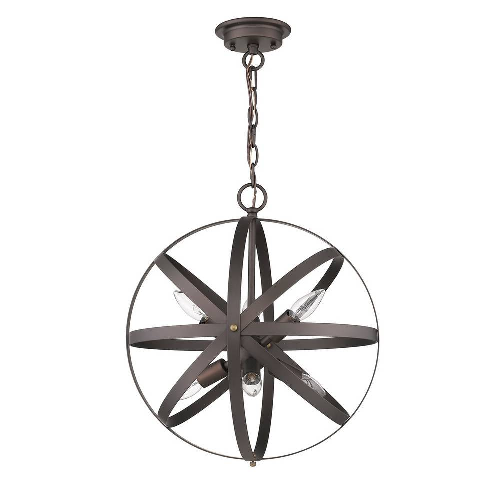 6-Light Industrial Oil Rubbed Bronze Cage Globe Hanging Light