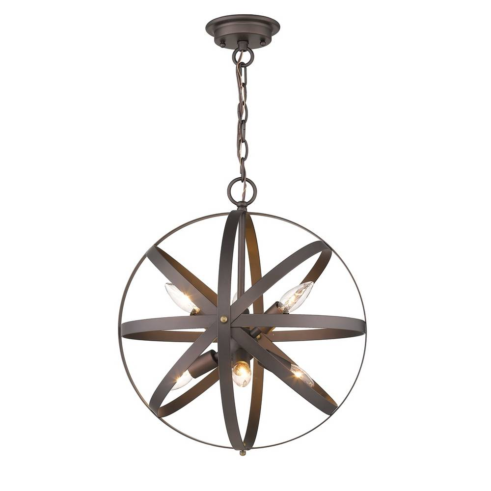 6-Light Industrial Oil Rubbed Bronze Cage Globe Pendant Light